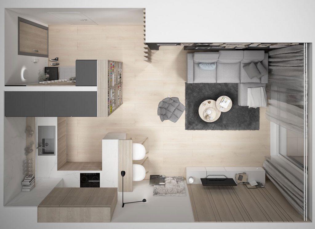 Pôdorys menšieho dvojizbového bytu s predsieňou, obývačkou a kuchyňou.
