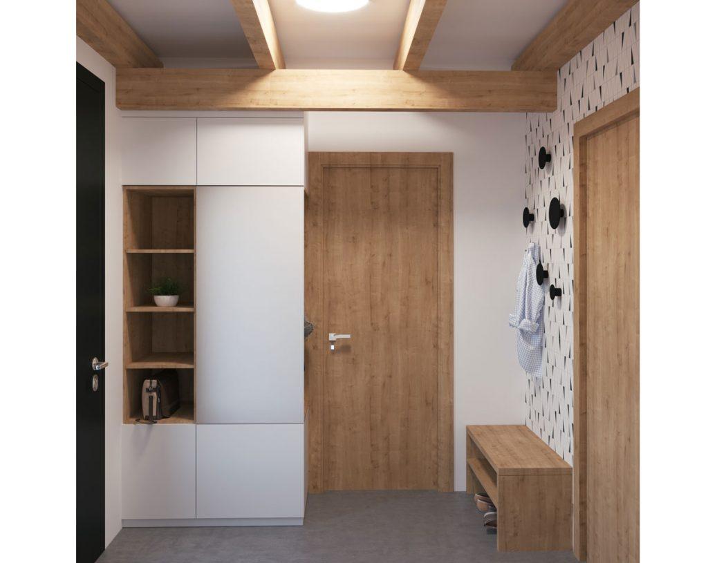 Návrh malej chodby s otvorenými policami a stenou s geometrickým vzorom.