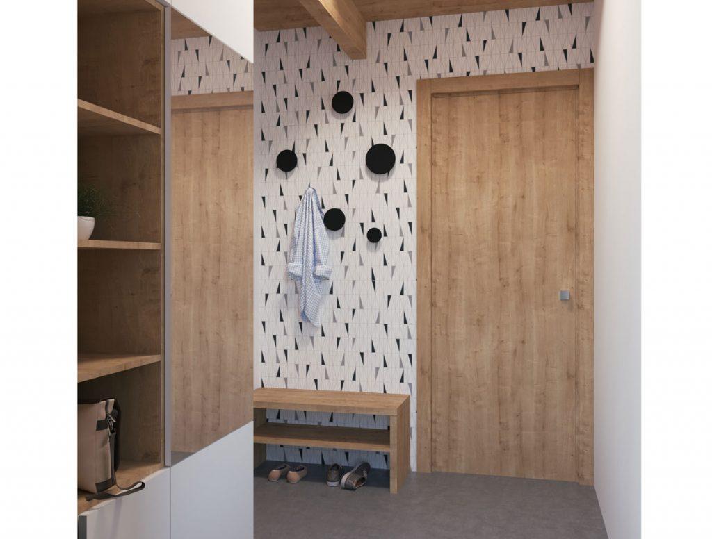 Grafický návrh malej predsiene s geometrickým vzorom na stene, dizajnovými vešiakmi a otvorenými úložnými priestormi.