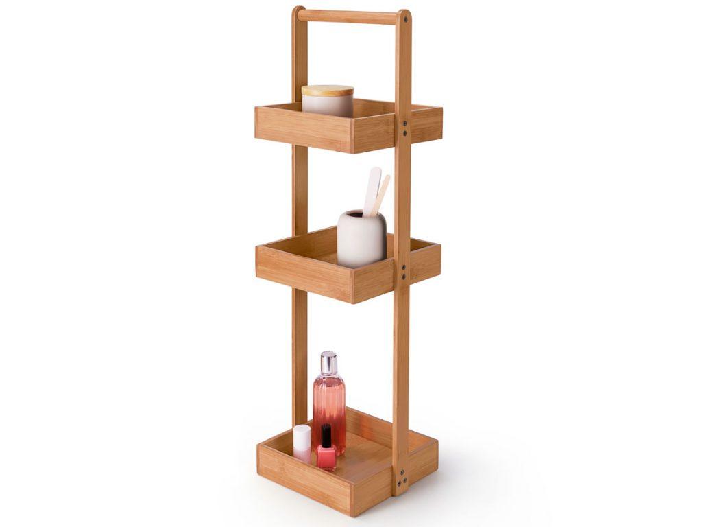 úložné priestory: Stojací regál z bambusu.