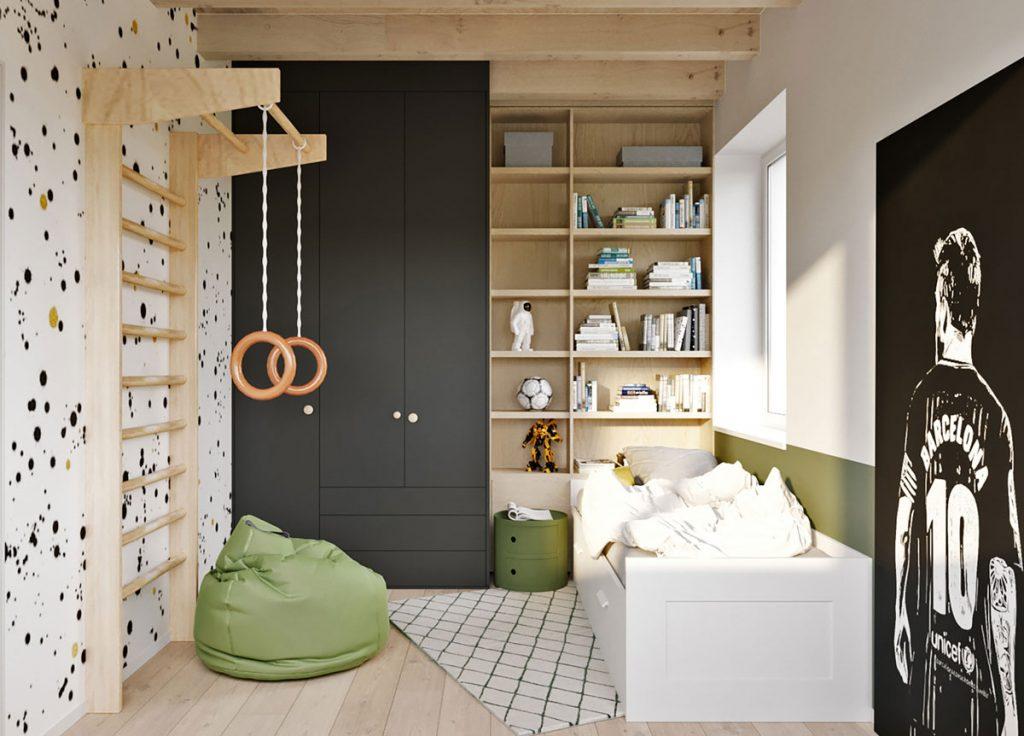 Šikovne vyriešená chlapčenská izba, ktorá bude rásť spolu s jej obyvateľom