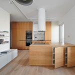 Minimalistická kuchyňa s ostrovčekom a kuchynskou stenou, v ktorej je ukrytý drez a vstavaná rúra.