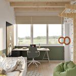 Chlapčenská izba v zemitých farbách s pracovným kútikom, posteľou a rebrinou.