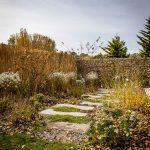 Záhrada so záhonom z trvaliek a cibuľovín, cez ktorý vedie chodník z betónových dosiek.