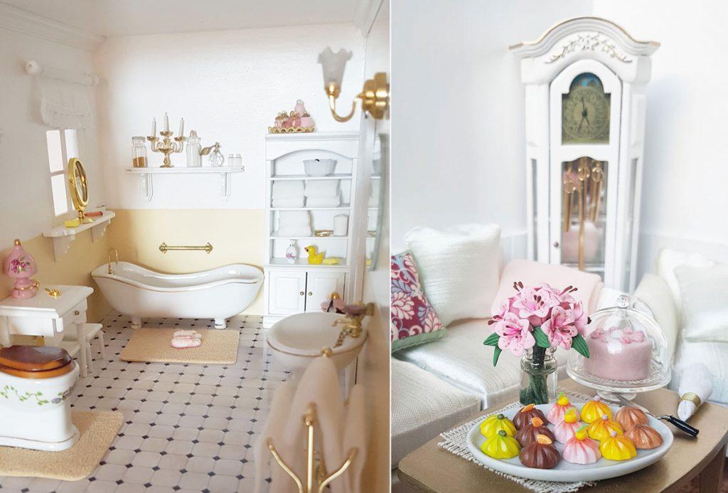 Miniatúra kúpeľne a obývačky v domčeku pre bábiky.