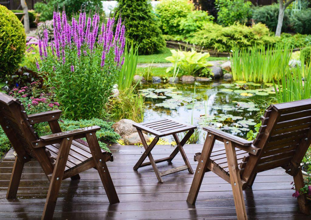 Záhrada s jazierkom na úzkom pozemku.