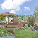 Kam umiestniť krb na záhrade: Rodinný dom s pergolou, terasou s kozubom a záhradou s okrasnými kvetmi