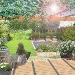 Návrh záhrady s krbom: Pohľad z terasy na záhradu s bazénom.