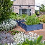 Rodinný dom so záhradou bez trávnika, s vyvýšenými záhonmi a okrasnými záhonmi s trvalkami.