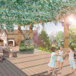 Návrh terasy s kozubom: Záhradná terasa s pergolou a kozubom.