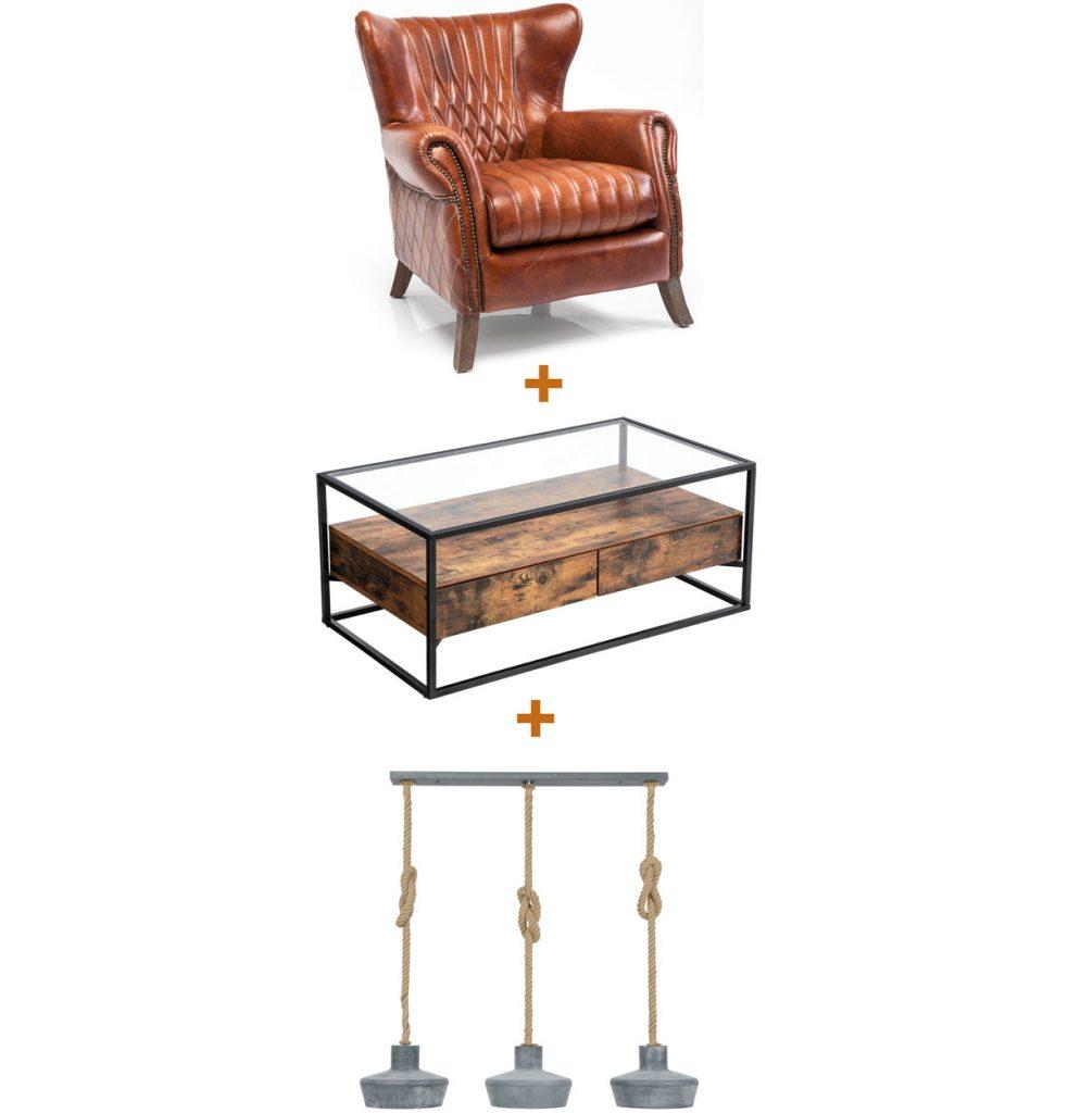 kožené kreslo, konferenčný stôl v industriálnom štýle a kovový luster zavesený na lanách