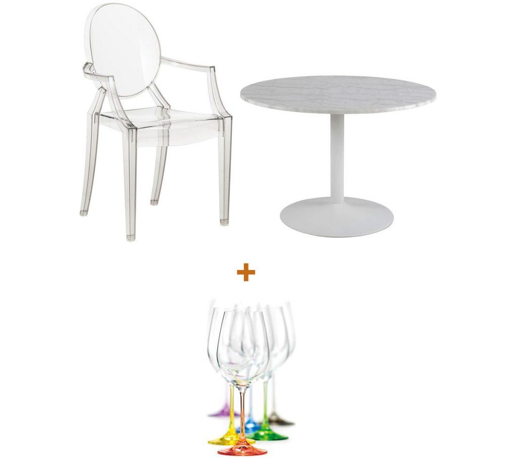 plastové priesvitné kreslo, mramorový jedálenský stôl a krištáľové poháre na víno s farebnými stopkami
