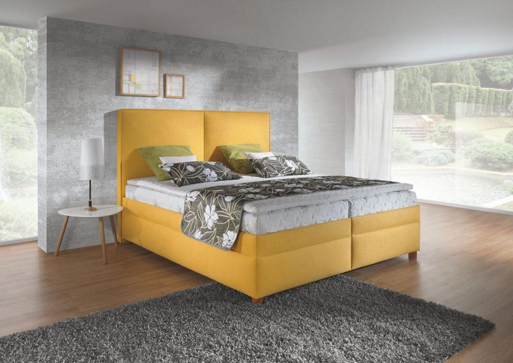 Zariadenie spálne: posteľ Marco v žltej farbe