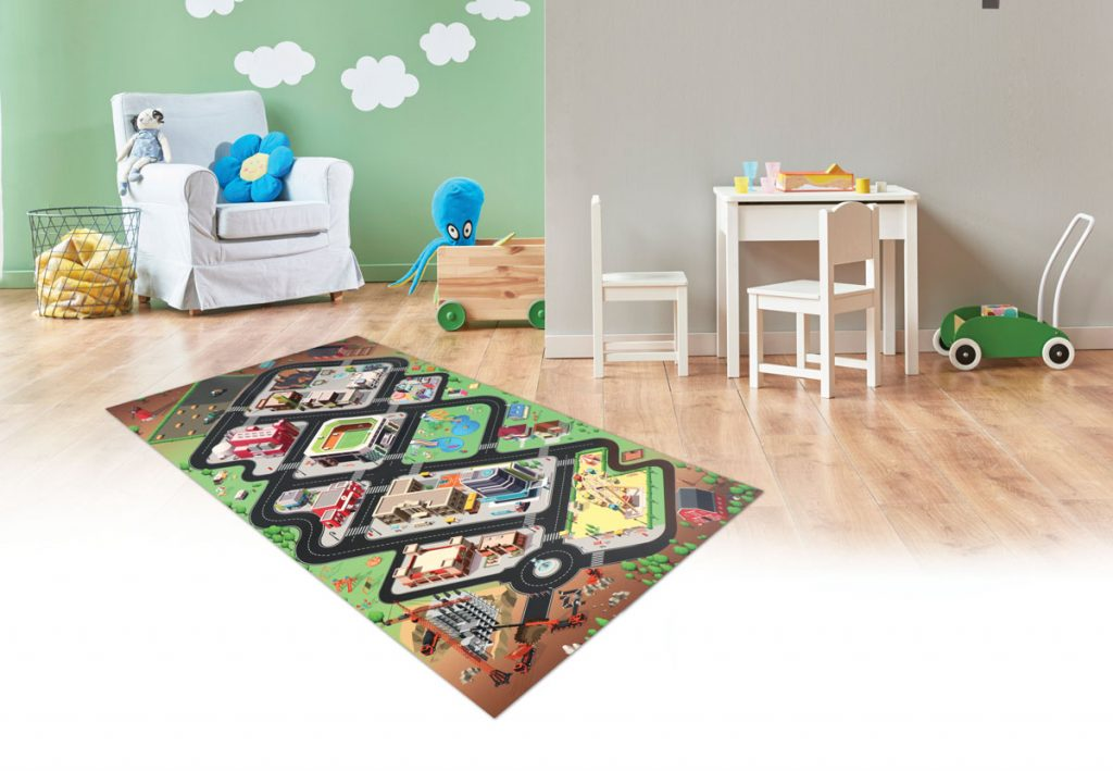 Detská izba s PVC kobercom s motívom mesta