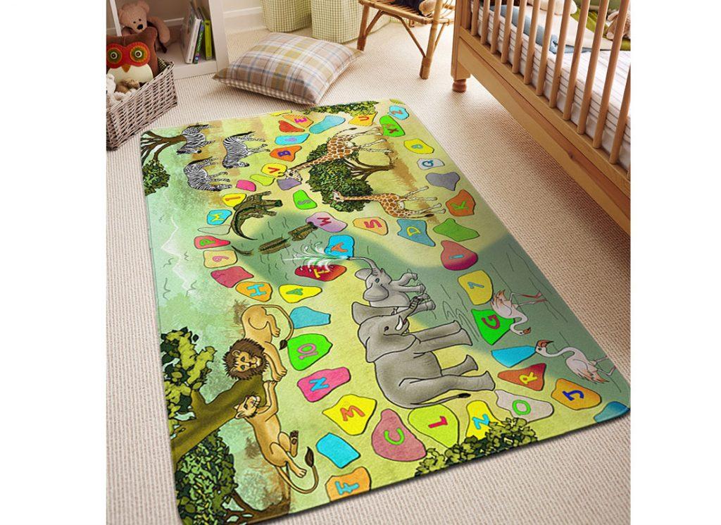Detská izba s kobercom s motívom safari