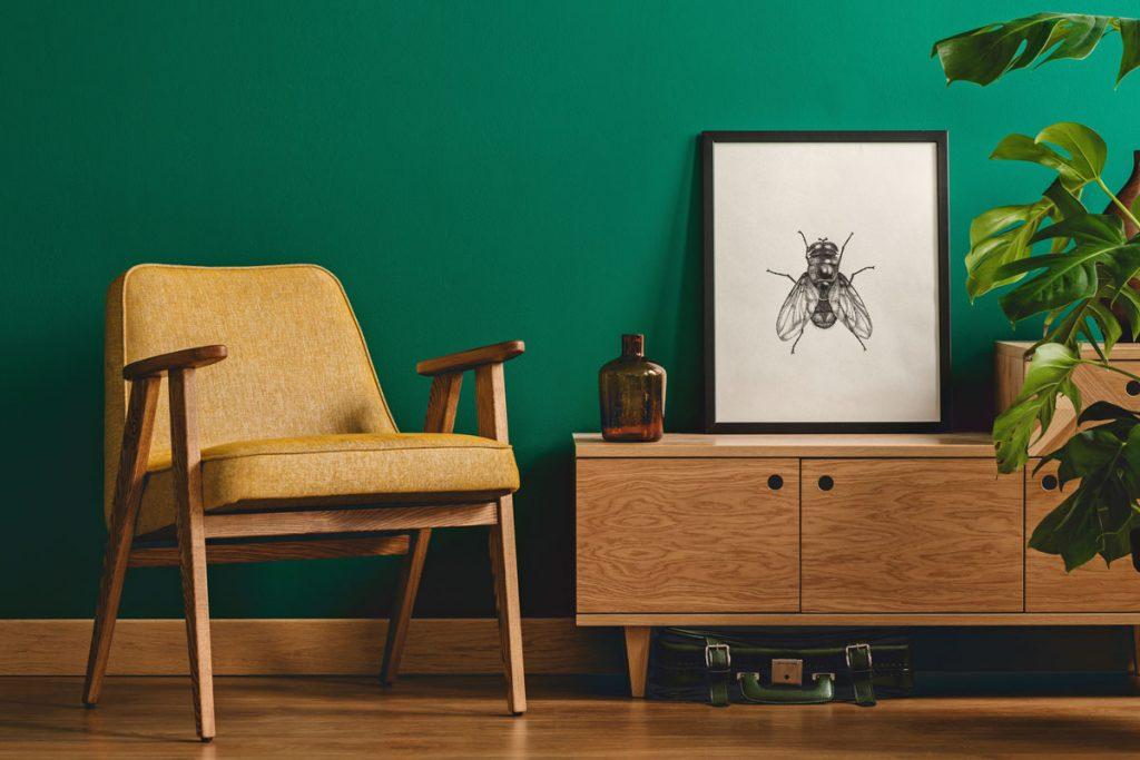 retro interiér s kreslo, komodou a obrazom s hmyzom