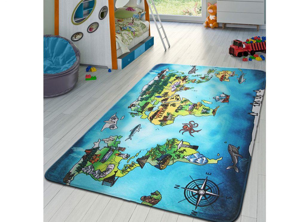 Detská izba s kobercom s motívom mapy sveta
