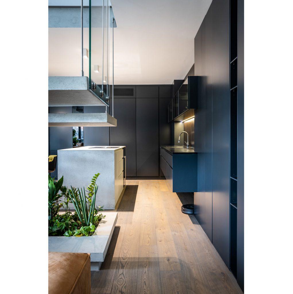 Kuchyňa s úložnými priestormi a pracovnou plochou v čiernej farbe, s ostrovčekom a s podlahovým kvetináčom.