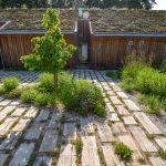 Drevostavba rodinného domu so zelenou strechou, pred ktorou je státie pre autá vyriešené dubovými trámami zapustenými do terénu.