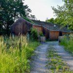 Prírodná príjazdová cesta k rodinnému domu so záhradou navrhnutou vo filozofii hygge