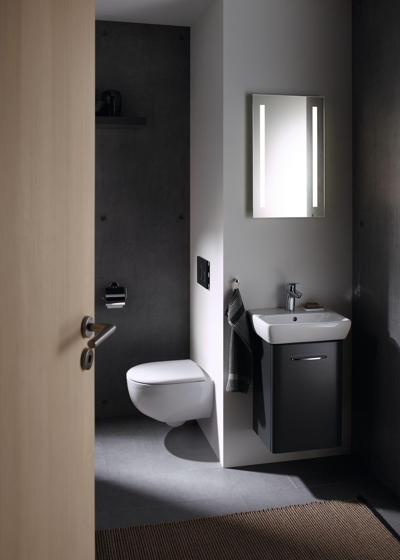 Špeciálny rad kúpeľňového nábytku Geberit Selnova Compact určený do malých kúpeľní