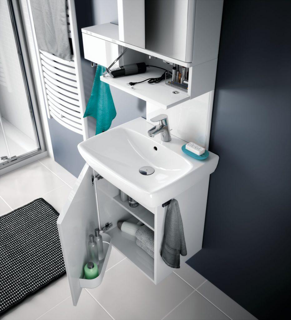 Súprava zrkadlovej skrinky s výklopnou poličkou, umývadla a umývadlovej skrinky zo série Geberit Selnova Square