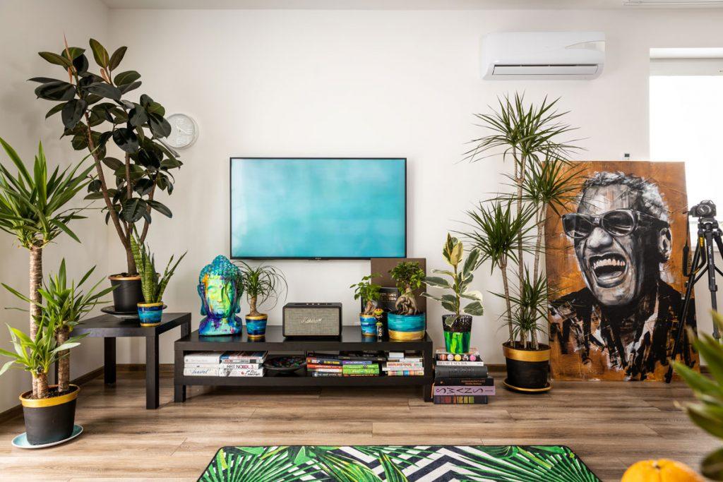 Obývačka s nábytkom v čiernej farbe, so zelenými kvetinami a obrazom Raya Charlesa opretým o stenu