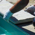 lepenie bazénového lemu a platní: lepenie lemu