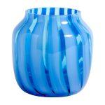 modrá sklenená váza