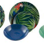 súprava tanierov z porcelánu so vzorom papagájov a tropických rastlín
