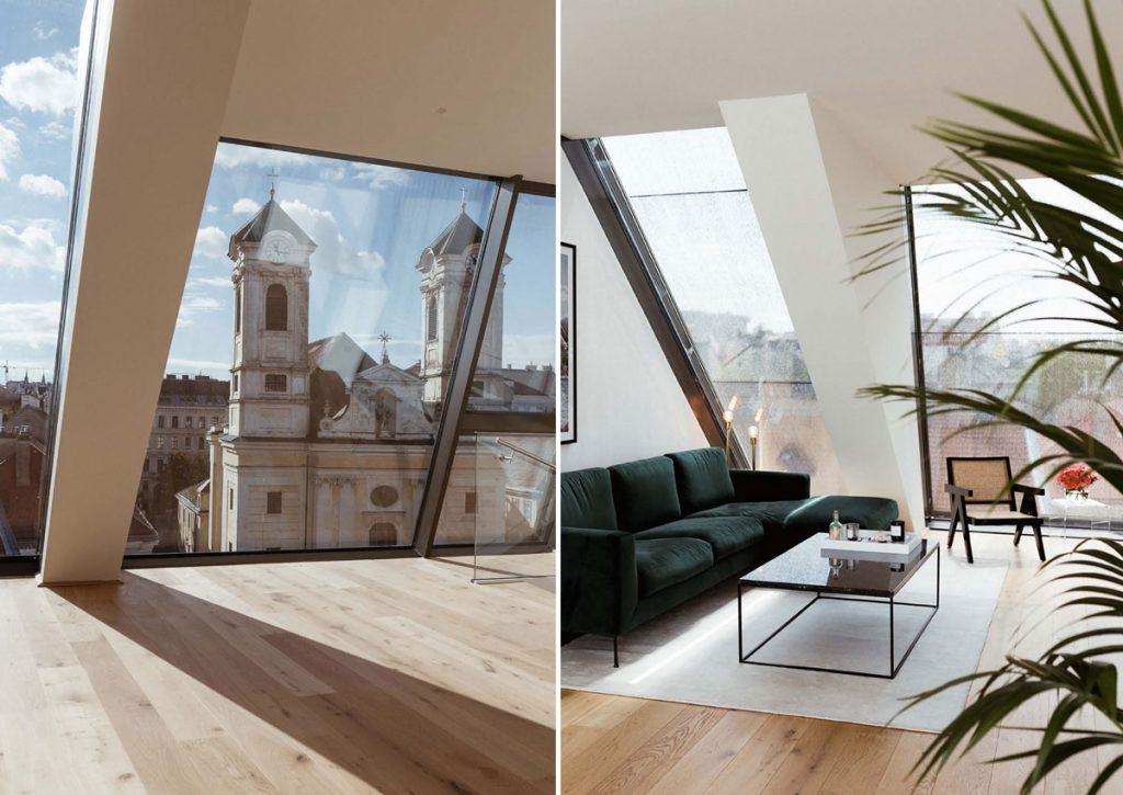 Podkrovný apartmán s XXL oknami zariadený v štýle art déco