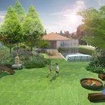 Návrh záhrady s bazénom a vhodnou zeleňou v okolí bazéna