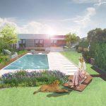 Dizajnérsky návrh výsadby v okolí záhradného bazéna