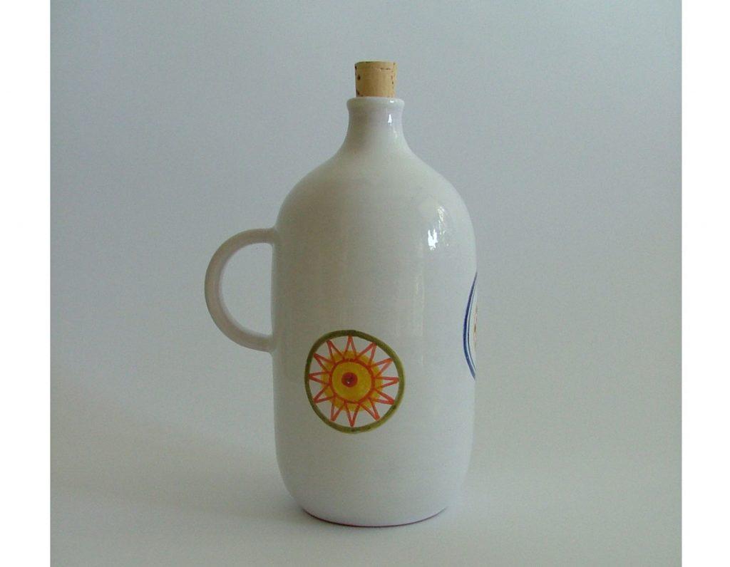 keramická fľaša s ľudovými vzormi ručne maľovaná