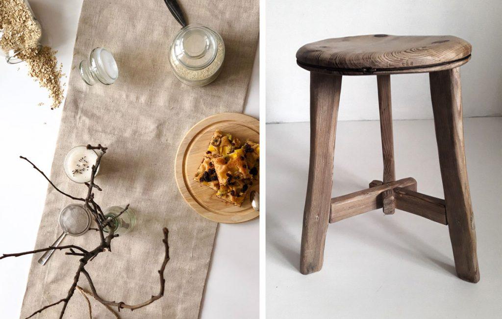 Výrobci venujúci sa tradičným slovenským remeslám. Ľanová štóla od abreadbag.com a drevený stolček od Kamise