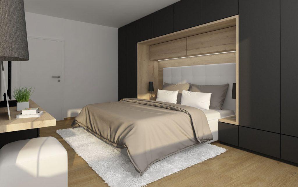 Dizajnérske riešenie: Komfortná a praktická spálňa s množstvom úložných priestorov