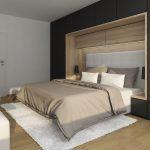 Grafický návrh modernej spálne s úložnými priestormi.