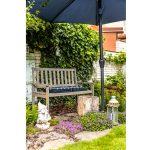 záhradné zátišie s lavičkou, slnečníkom, pníkom na kávu, trpaslíkom a materinou dúškou s lobéliou