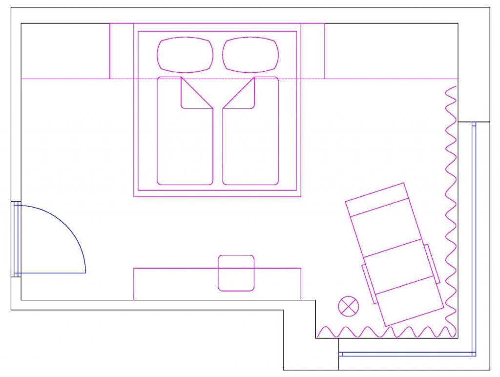 Pôdorys spálne s oddychovou zónou, posteľou a úložnými priestormi