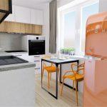 Rohová kuchynská linka s jedálenský stolom a chladničkou.