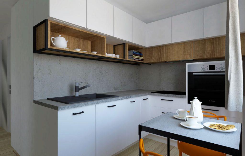 Dizajnérske riešenie rohovej linky v úzkej kuchyni.