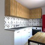 Kuchyňa s rohovou linkou so vstavanými spotrebičmi a jedálenský stolom