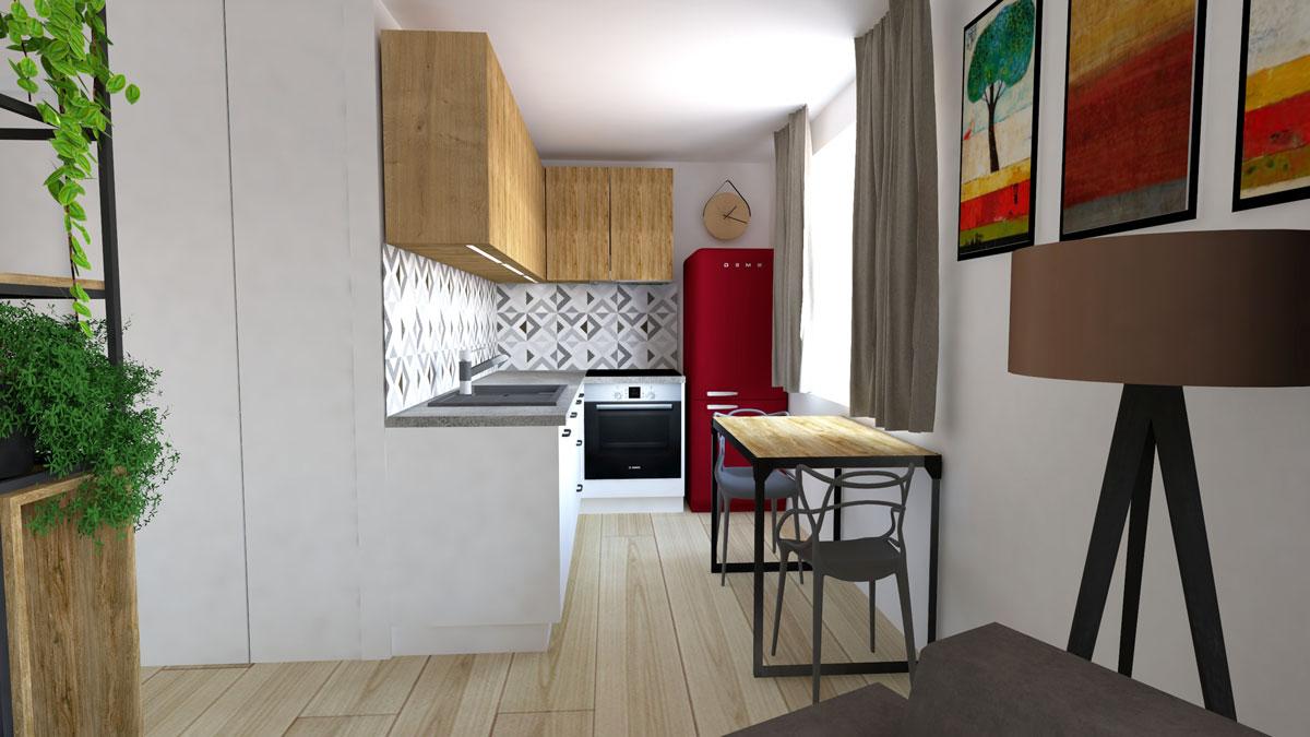 Grafický návrh rohovej kuchynskej linky v úzkom priestore, s jedálenským stolom a vstavanými spotrebičmi