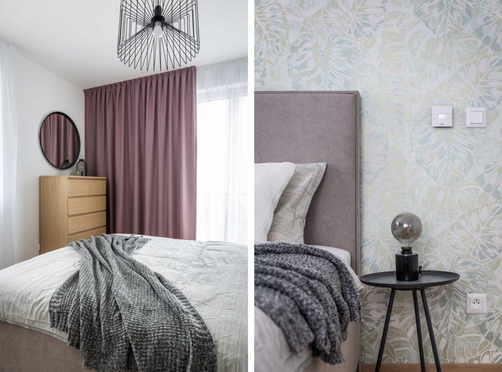 Spálňa v odtieňoch sivej a staroružovej a s tapetou s motívom listov