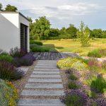 Záhrada s modernou novostavbou, ktorej terasa ústí do štrkových záhonov s trvalkami.