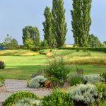 Záhrada s trvalkovými záhonmi so šlapákovými cestami, ktoré prepájajú záhradu s domom