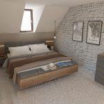 dizajnérsky návrh spálne v podkroví