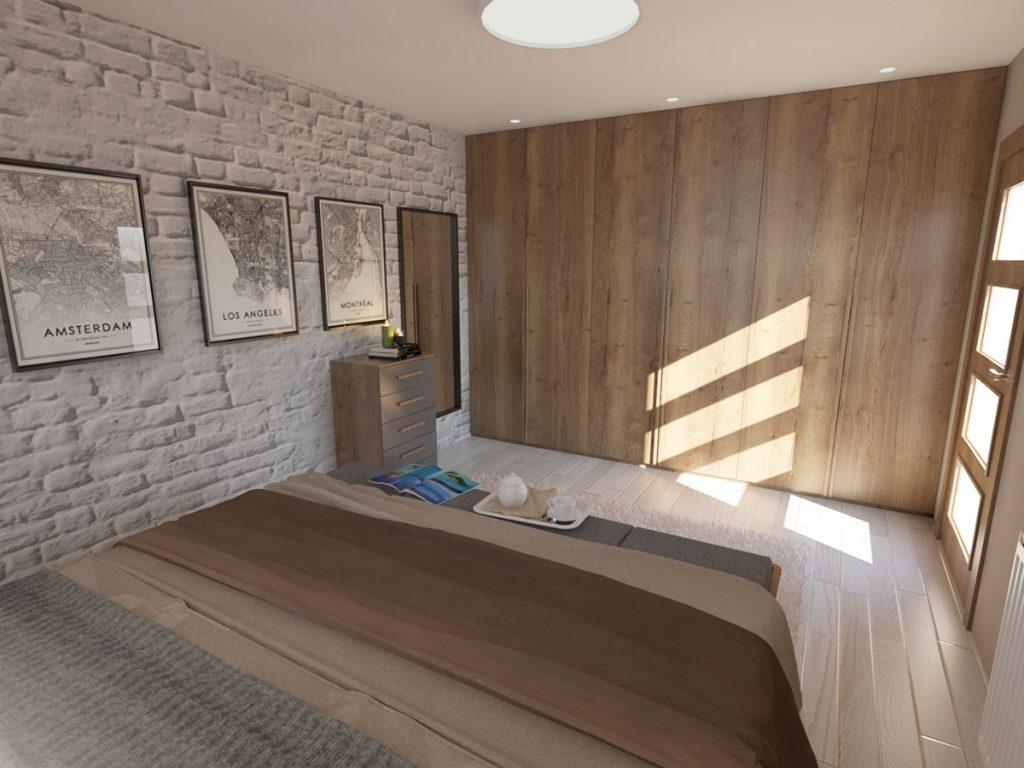 Podkrovná spálňa so vstavanou skriňou a tehlovou stenou