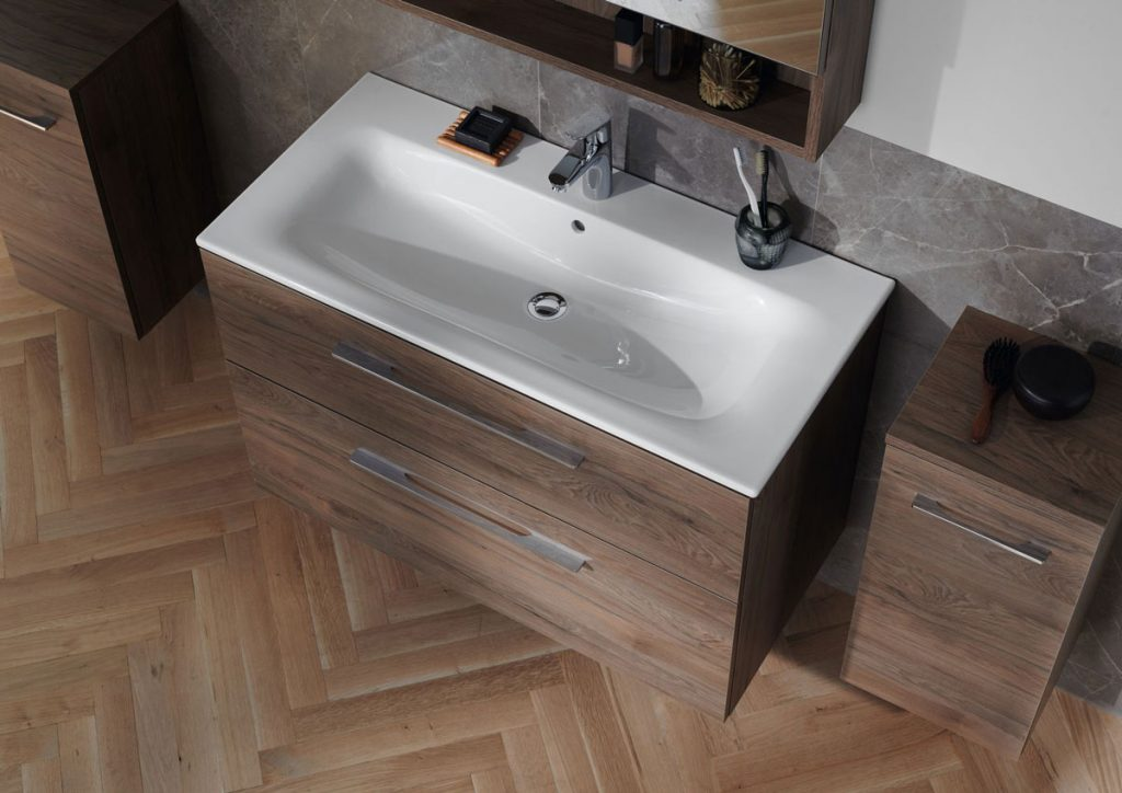 Nábytkové umývadlo s úzkym okrajom integrované do umývadlovej skrinky