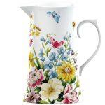 porcelánový džbán so vzorom kvetín